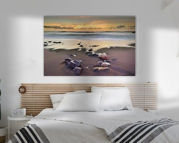 Plage du coucher de soleil Fuerteventura Espagne sur John Leeninga