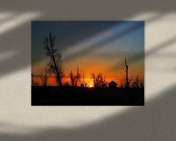 Zonsondergang aan de Oostvaardersplassen van Daan van Gils