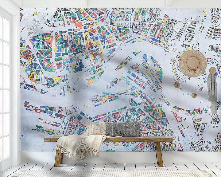 Sfeerimpressie behang: Glaskaart Rotterdam van Frans Blok