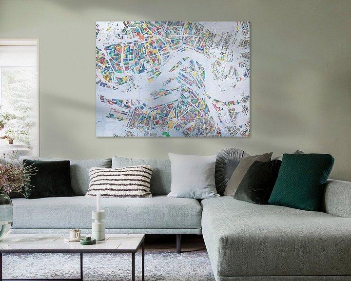 Sfeerimpressie: Glaskaart Rotterdam van Frans Blok