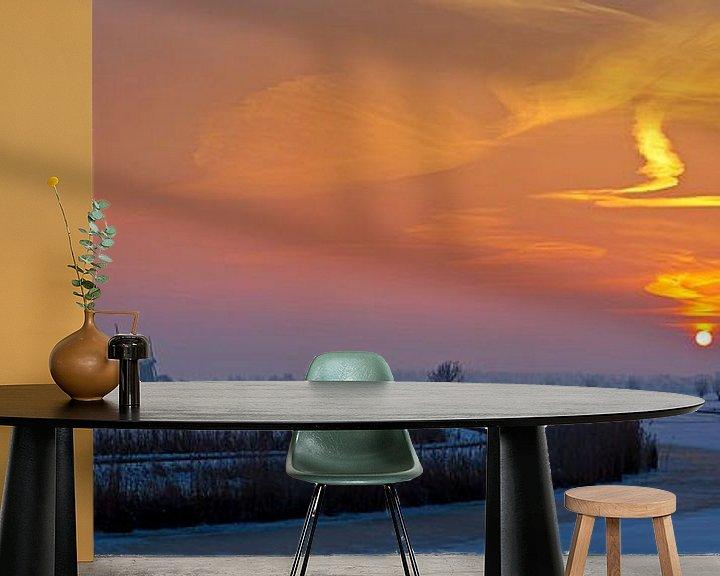 Sfeerimpressie behang: Panorama zonsopkomst Kinderdijk in de winter van Anton de Zeeuw