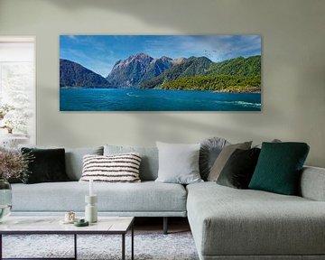 Panorama van Milford Sound, Nieuw Zeeland van Rietje Bulthuis