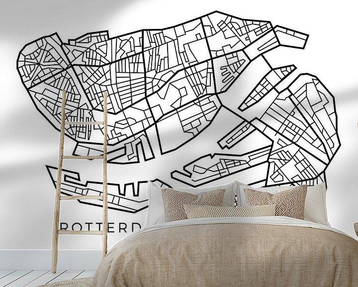 Sfeerimpressie behang: Map van Rotterdam in lijnen van Marco van Hoogdalem
