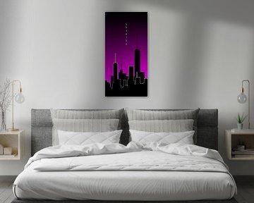 Grafische Kunst Skyhigh PANORAMA | roze van Melanie Viola
