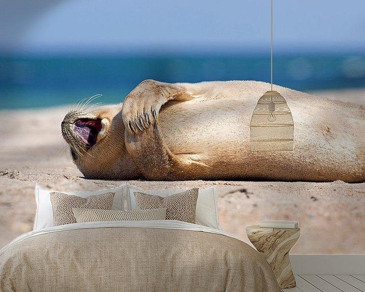 Sfeerimpressie behang: Blij zeehondje van Anton de Zeeuw