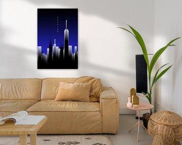 Grafische Kunst Skyhigh Lights | blauw van Melanie Viola