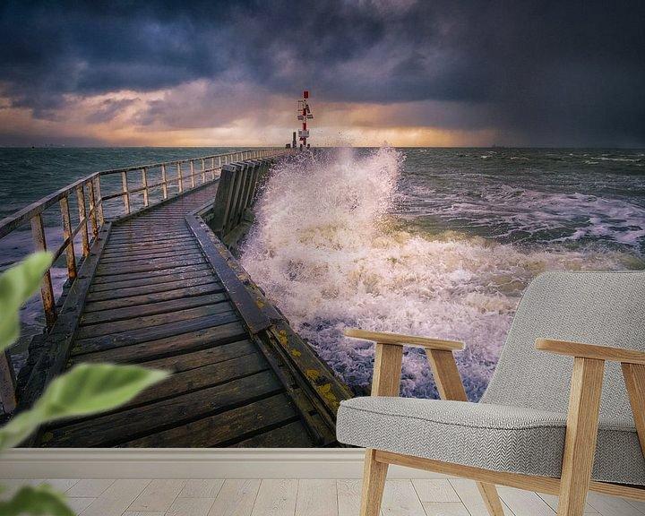 Sfeerimpressie behang: Storm bij Vlissingen van Sander Poppe