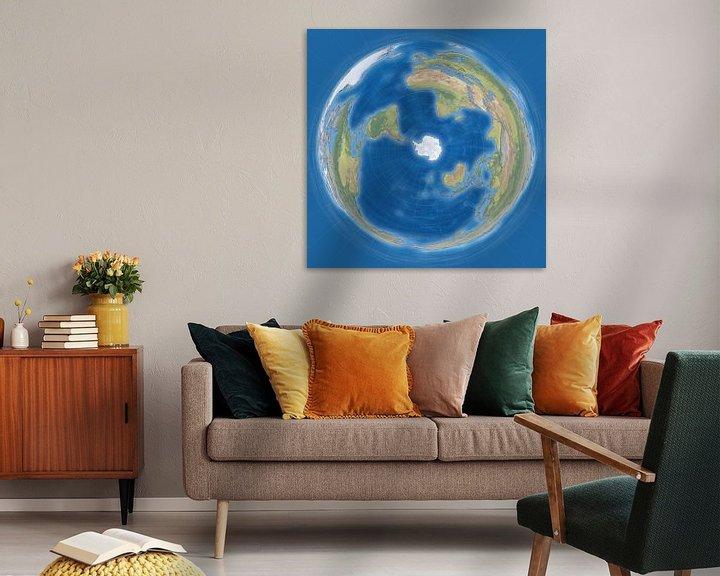 Sfeerimpressie: Wereldkaart, pinguinprojectie van Frans Blok