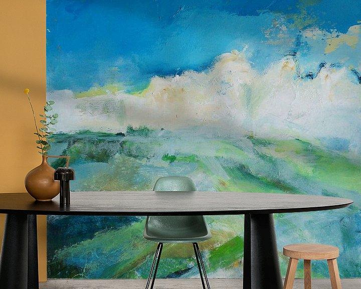 Sfeerimpressie behang: Abstrakte landschap van Deniz Paulat