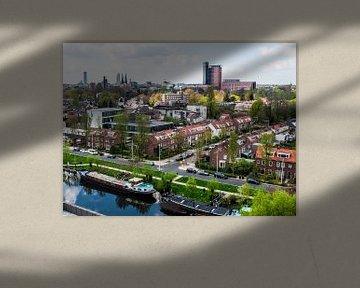 Havenbeeld: Skyline van Tilburg gezien vanuit grote hoogte  van Freddie de Roeck