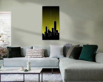 Graphic Art SKYHIGH PANORAMIC | yellow van Melanie Viola