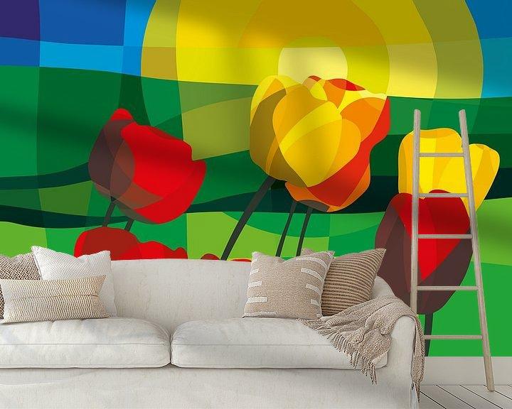 Beispiel fototapete: Tulpen, grüne Wiesen und ein Sommer-Sonnenaufgang von Color Square