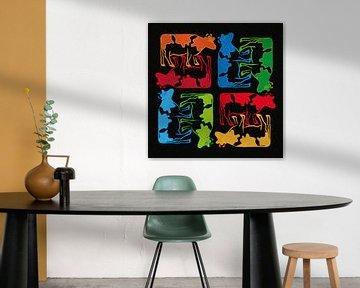 Colorful Cows Composition van Color Square