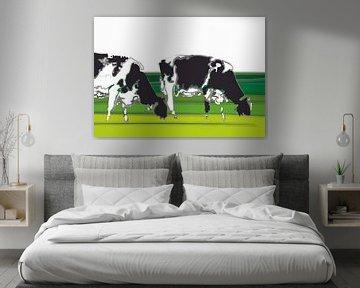 Kühe in minimalistischen Landschaft von Color Square