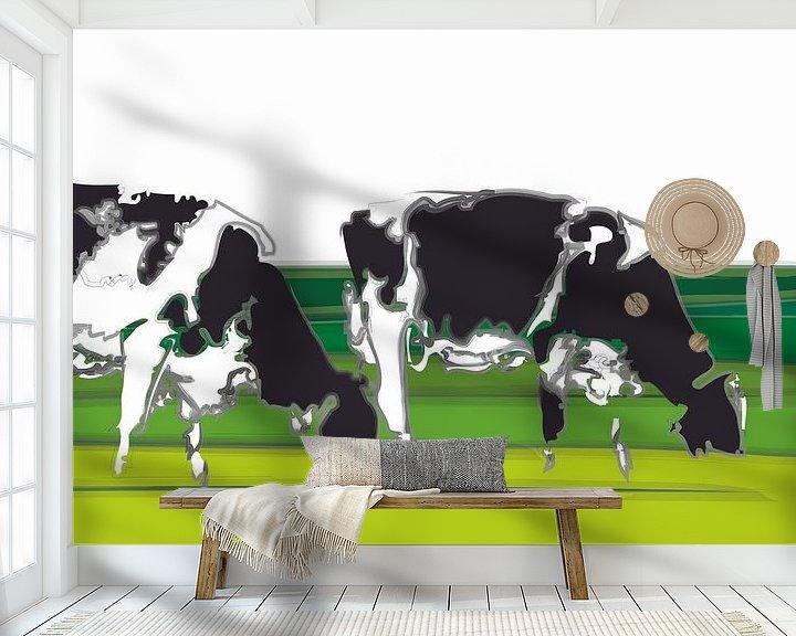Beispiel fototapete: Kühe in minimalistischen Landschaft von Color Square