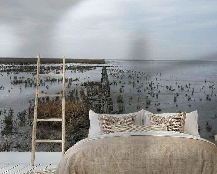Sfeerimpressie behang: 11. Landschap, natuurgebied, kwelder Noarderleech , wad van Alies werk