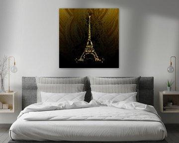 Digital-Art Eiffelturm | Goldene Flammen  von Melanie Viola