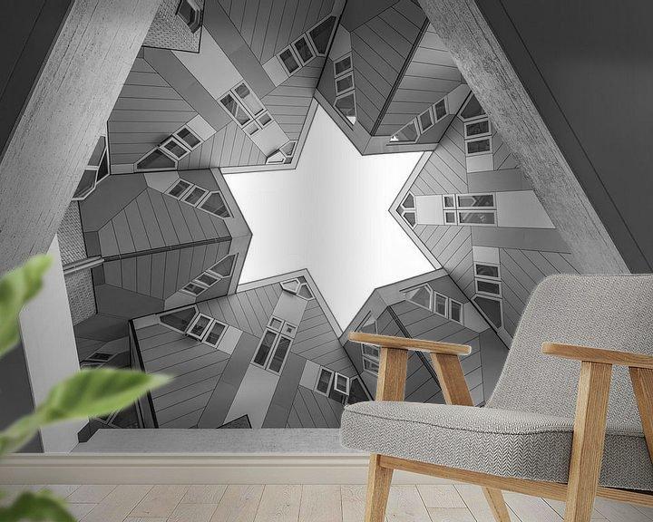 Sfeerimpressie behang: De Kubuswoningen in Rotterdam van MS Fotografie   Marc van der Stelt