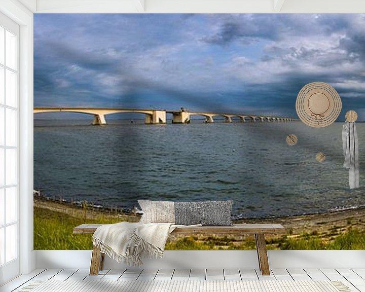Sfeerimpressie behang: Panorama Zeelandbrug van Sander Poppe