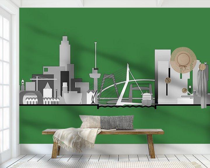 Sfeerimpressie behang: Rotterdamse skyline, Rotterdams groen van Frans Blok
