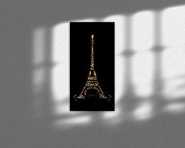 Digital Art Eiffeltoren | black & gold van Melanie Viola
