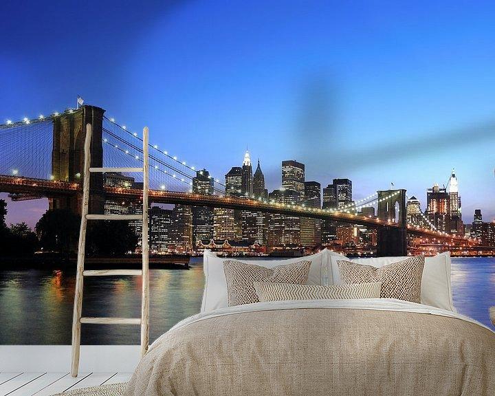 Sfeerimpressie behang: Brooklyn Bridge van Paul van Baardwijk