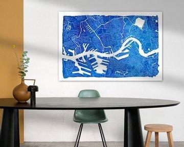 Stadtplan von Rotterdam | Blau mit weissem Rahmen von Wereldkaarten.Shop