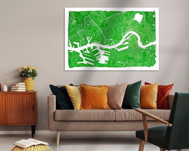 Sfeerimpressie: Rotterdam Stadskaart | Groen met witte kader van Wereldkaarten.Shop