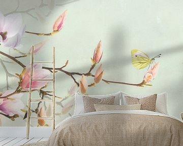 Magnolia en geaderd witje van Fionna Bottema
