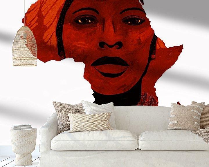 Sfeerimpressie behang: Moeder Afrika 1 van Irene Jonker