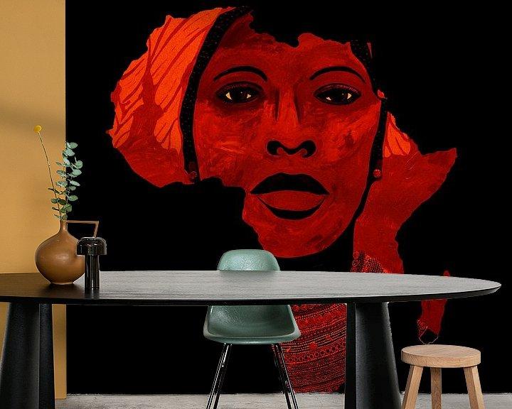 Sfeerimpressie behang: Moeder Afrika van Irene Jonker