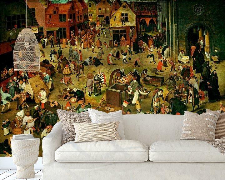 Sfeerimpressie behang: De strijd tussen Carnaval en Vasten, Pieter Bruegel
