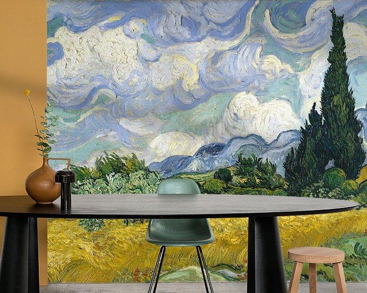 Beispiel fototapete: Weizenfeld mit Zypressen - Vincent van Gogh