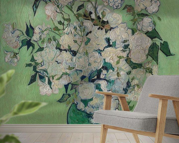 Beispiel fototapete: Stillleben mit Rosen in der Vase - Vincent van Gogh