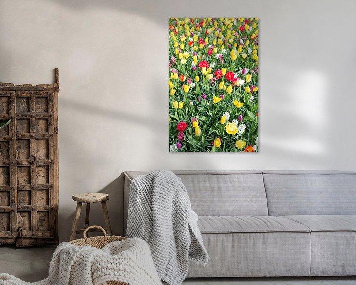 Sfeerimpressie: rode en gele tulpen in de keukenhof van Compuinfoto .