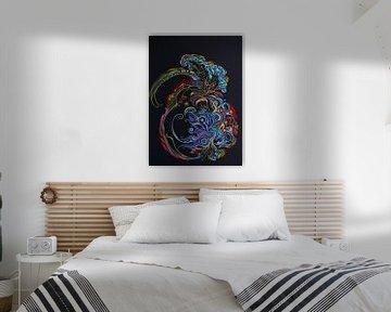 Oosterse fractal kleurexplosie op zwart  von E11en  den Hollander