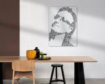 Bono, silhouet gemaakt van muziek iconen van Color Square