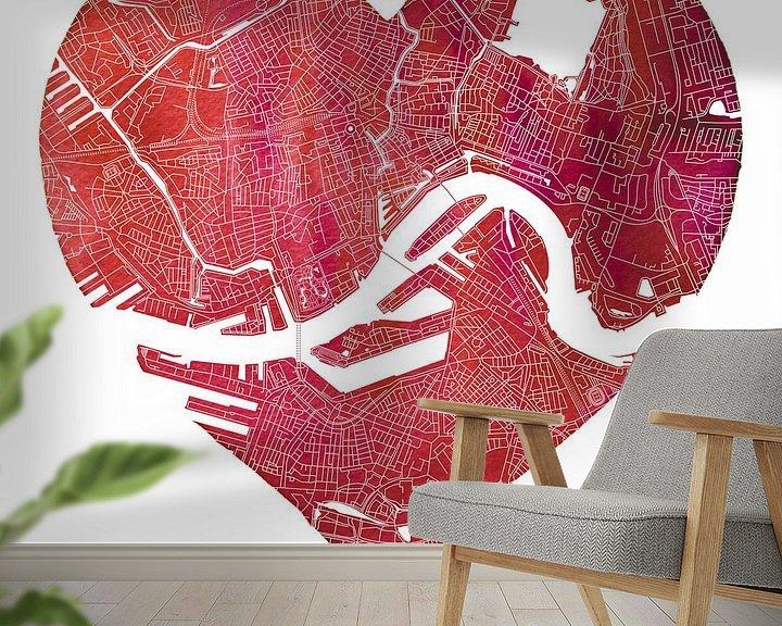 Sfeerimpressie behang: Rotterdam Noord en Zuid | Stadskaart in een rode hart van Wereldkaarten.Shop