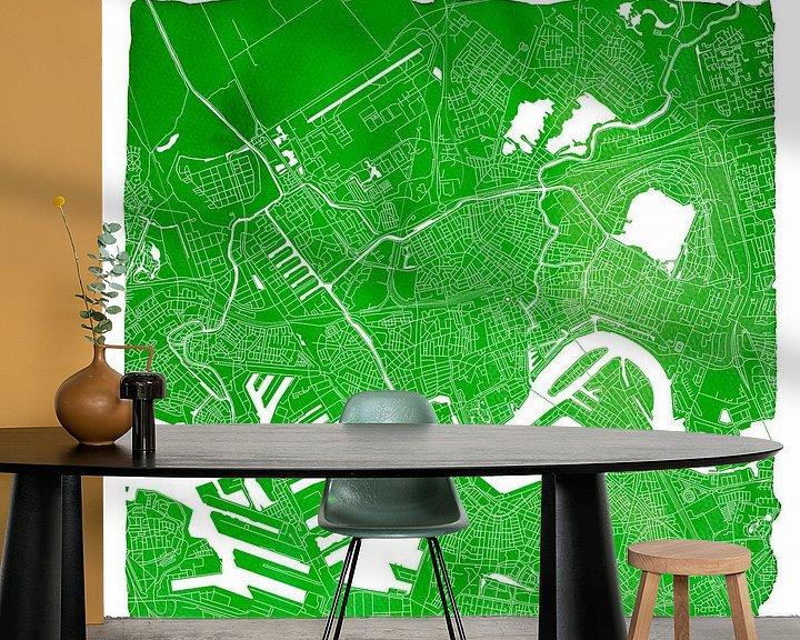Sfeerimpressie behang: Rotterdam Stadskaart   Groen Vierkant met Witte kader van Wereldkaarten.Shop