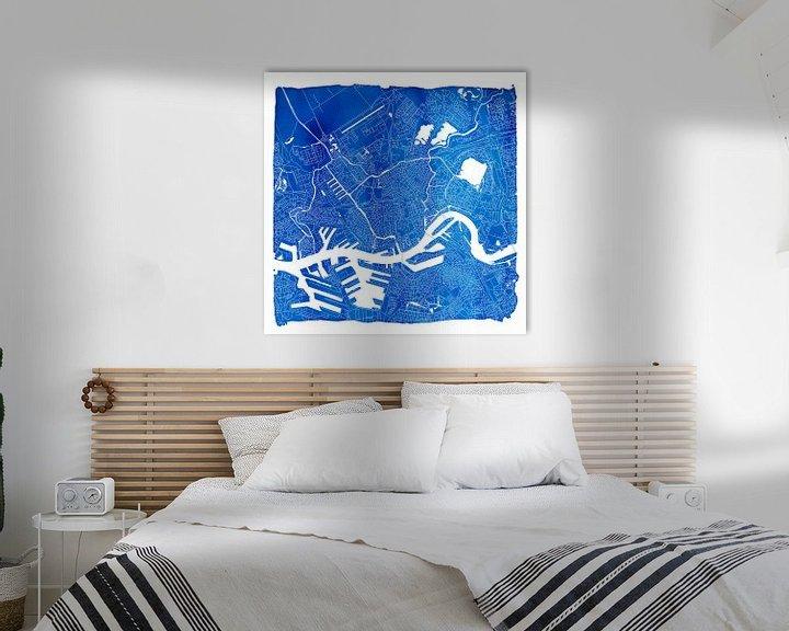 Sfeerimpressie: Rotterdam Stadskaart | Blauw Vierkant met een Witte kader van Wereldkaarten.Shop