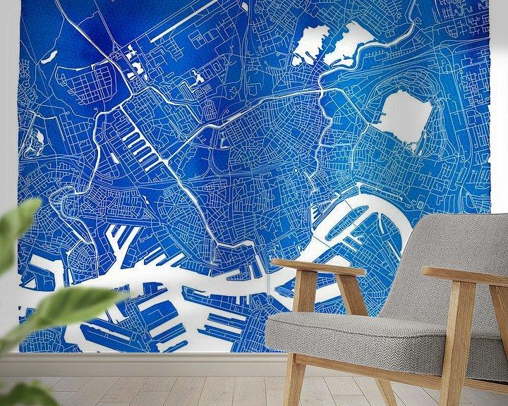 Sfeerimpressie behang: Rotterdam Stadskaart | Blauw Vierkant met een Witte kader van Wereldkaarten.Shop