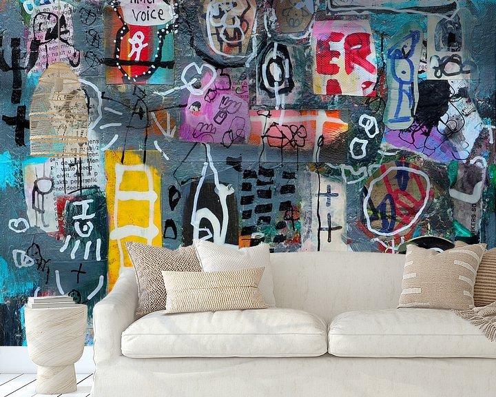 """Sfeerimpressie behang: Collage """"Luister naar je innerlijke stem"""" van Ina Wuite"""