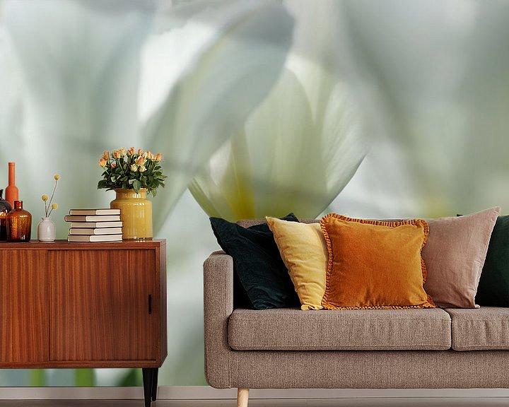 Sfeerimpressie behang: Witte tulpen van Carla Mesken-Dijkhoff