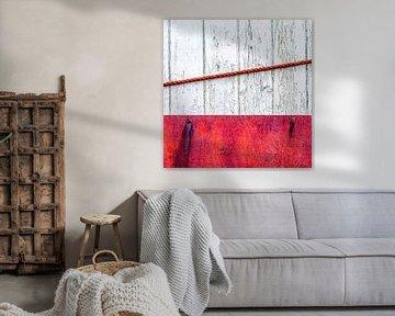 Strandhuis abstract in steenrood van Texel eXperience
