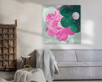 Liebe der Blumen-Rosen: rosa, Minze & Tiefgrün von ART Eva Maria