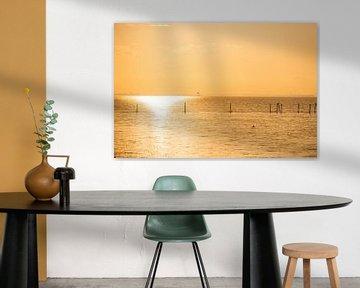 Zonsondergang  met oranje licht