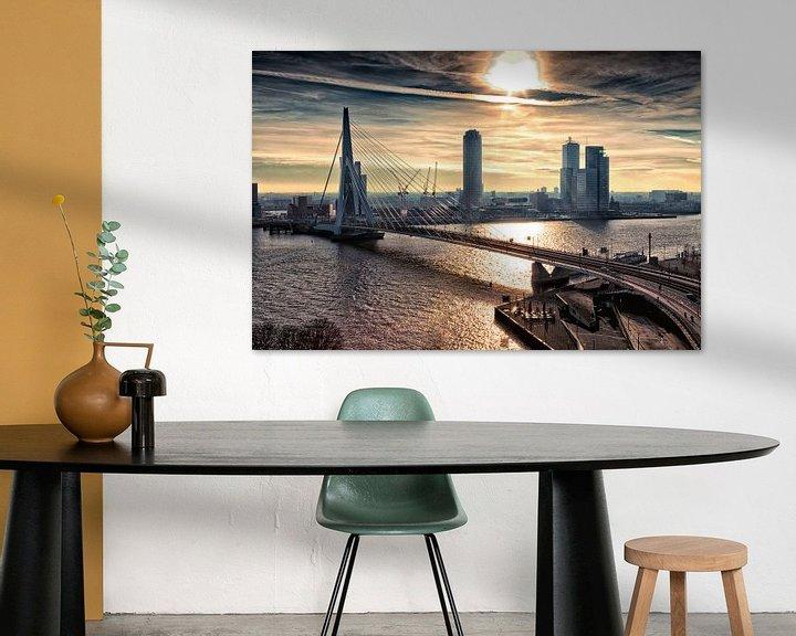Sfeerimpressie: Rotterdam Skyline in the morning van Rob van der Teen