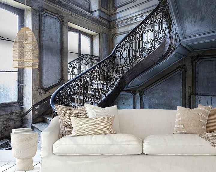 Beispiel fototapete: Magnificent Treppe in verlassenen Villa von Inge van den Brande
