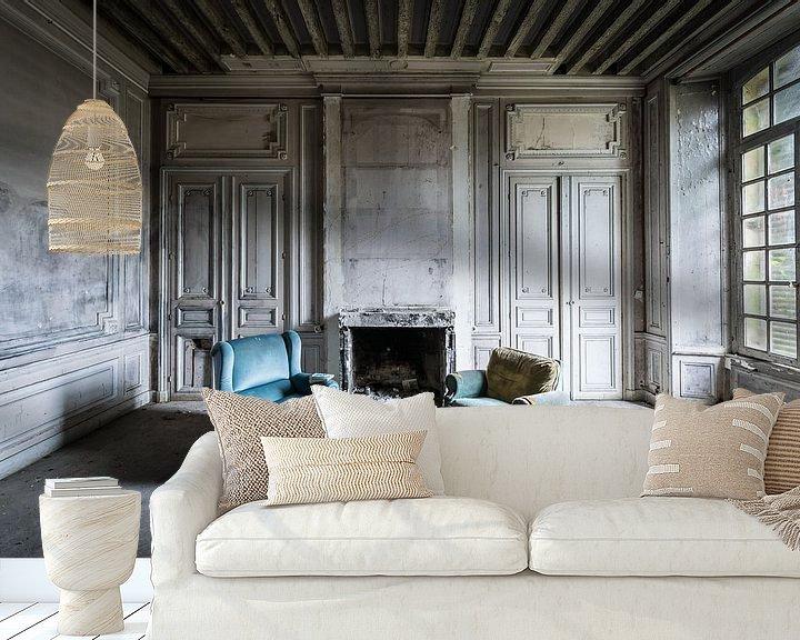 Beispiel fototapete: Zwei blaue Stühle von Inge van den Brande