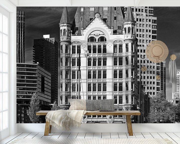 Sfeerimpressie behang: Witte Huis Rotterdam zwart / wit van Anton de Zeeuw